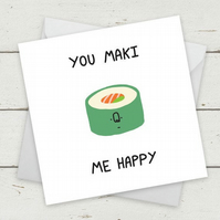 "Funny Cards ""You Maki Me Happy"" - Birthday Card - birthday card girlfriend - bir"