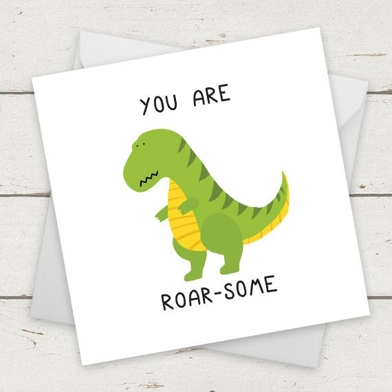 "Funny Dinosaur card ""Roar-Some"" - Greeting Card - Birthday Card - Card for Girlf"