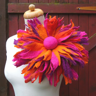oversized ifelted flower corsage pin brooch, handmade, felted wool flower