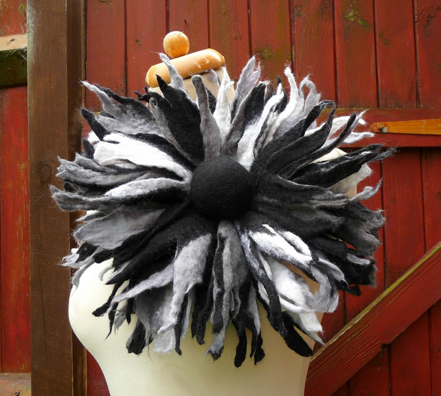 oversized flower brooch, felted flower, pin, black, white
