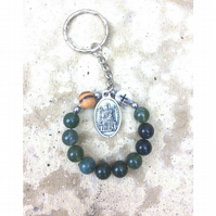 Rosary keyring-Our Lady of Walsingham-Moss agate