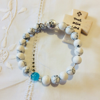 Rosary bracelet - two decade prayer bangle - White with blue feature bead