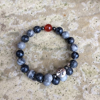 Catholic rosary bracelet for men - labradorite, map stone and red agate- for Cat