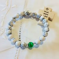 Rosary bracelet - two decade prayer bangle - White and green