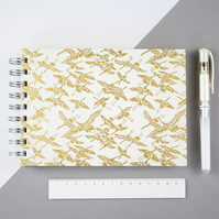 B6 'Golden Cranes' Japanese Silkscreened Notebook Filled With Eco Friendly Paper