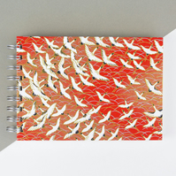 B6 'Red Cranes' Japanese Silkscreened Notebook, Small Pocket Good Luck Present
