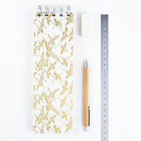 Slim Golden Cranes Extra Long Japanese Silkscreened Notebook, Sustainable Paper