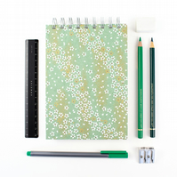 B6 'Green Meadow' Japanese Silkscreened Notebook, Eco Friendly Paper, Small Jour