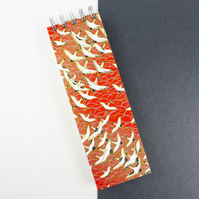 Slim Red Cranes Extra Long Japanese Silkscreened Notebook, Perfect Desk Notepad