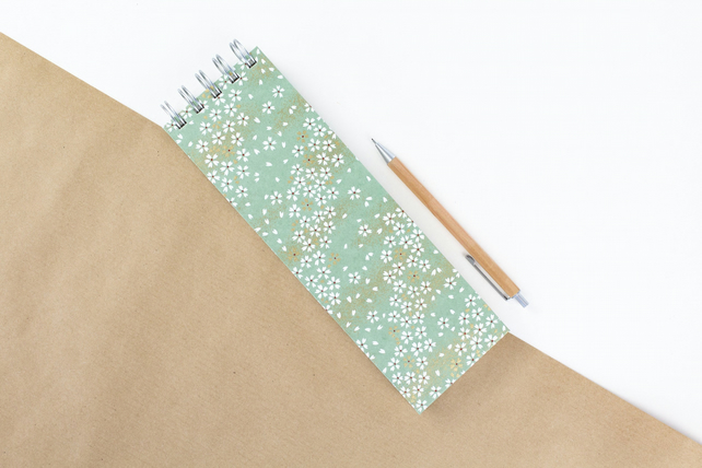 Slim 'Green Meadow' Extra Long Japanese Silkscreened Notebook