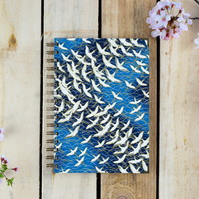 "A5 Blue Cranes ""Bird of Happiness"" Journal, Gift Sketchbook"