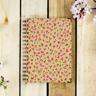 A5 Pink and Gold Carnations Journal With Choice of Paper, Mothers Day Gift
