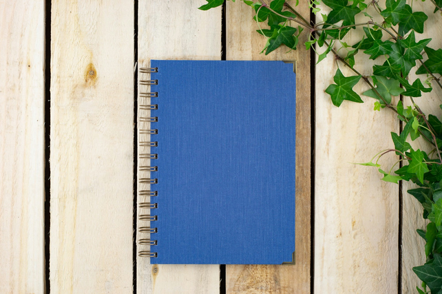 Denim Blue A5 Handmade Notebook or Sketchbook With Plain Paper