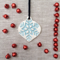Small Blue and White Scandi Snowflake Bauble Christmas Decoration
