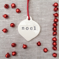 Small White and Grey Noel Bauble Christmas Decoration - Ceramic