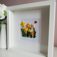 Daffodils wall art, spring daffodils, paper quilling flowers, mothers day gift