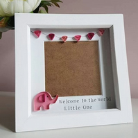 New Baby Gift, baby scan frame, Baby girl gift, Baby elephant, paper quilling
