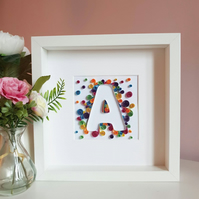 Initial Frame, New baby picture, Rainbow baby, Paper quilling letter, birthday