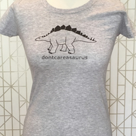 Ladies Dinosaur Slogan Grey T-Shirt - 'dontcareasaurus'