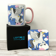 Pegaus Unicorn Mug and Coaster Set