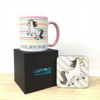 Nigel The Unicorn Mug and Coaster Set
