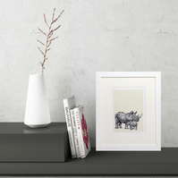 Rhino and Baby Handsketched Mini Framed Print