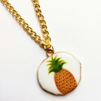 Enamel Pineapple charm necklace, tropical fruit jewellery, pineapple charm, brig