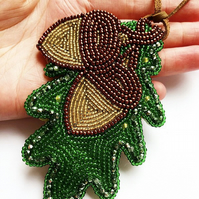 Autumns fall necklace, seedbeads, acorn, leaves, winter, jewellery, bead embroid
