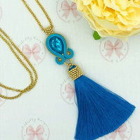 Tassel necklace, soutache tassel necklace, crystal, tassel, necklace, beaded tas