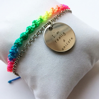 Unicorn bracelet, rainbow macrame bracelet, unicorn lover, rainbows, friendship