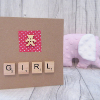 Baby Girl Card, Cute Baby Card, New Arrival Card, New Baby Card, It's a Girl