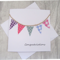 Wedding Card, Celebration Card, Bunting Card, Congratulations Card,