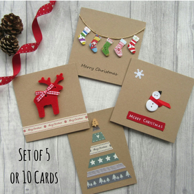 Set of 5 or 10 Christmas Cards, Card Multipack, Holiday Cards, Xmas Cards