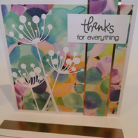 "A bright greetings card - copper highlights - ""Thanks for everything"""