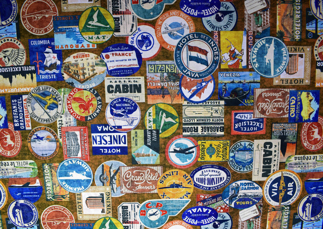 Vintage Luggage label fabric, Quilting fabric, Price per half metre