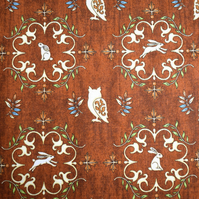 Rabbit fabric, owl fabric, bunny fabric, Quilting fabric, Price per half Metre
