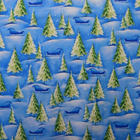 Christmas trees Fabric, Christmas Quilting fabric, price per half metre