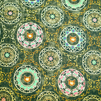 cat fabric, cat mandalas fabric, Quilting fabric, price per half metre