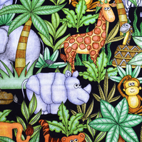 jungle buddies fabric, jungle animals, Quilting fabric, price by the half metre