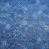 Blue Compass fabric, Quilting fabric, cotton fabric, Price per half Metre