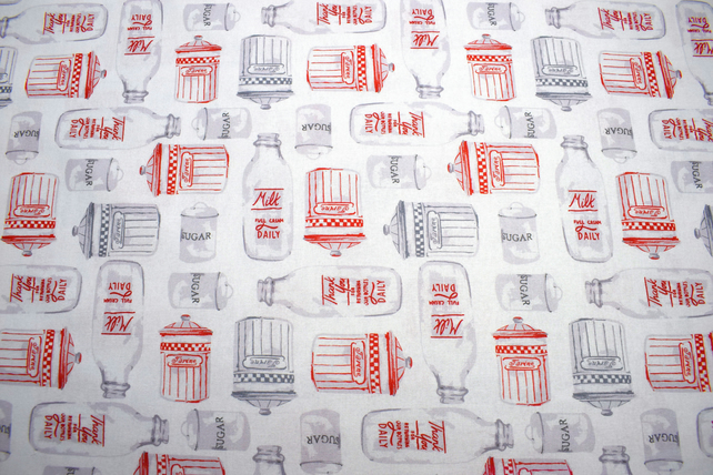 Milk Bottle fabric, Country cottage fabric, Price per half metre