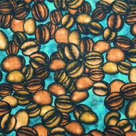 Coffee bean fabric, Quilting fabric, cotton fabric, price per half metre