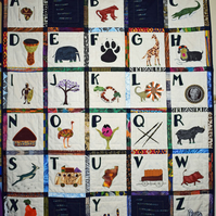 Alphabet chart, ABC, African theme quilt, letters, Wall hanging, nursery decor,