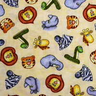 childrens animals fabric, Quilting fabric, cotton fabric, price by half metre