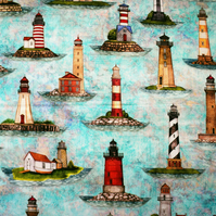 Blue Lighthouse fabric, Quilting fabric, Smooth Sailing, price per half metre