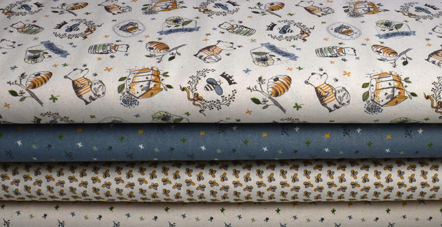 Bee fabric bundle, Honey fabric bundle, Quilting fabrics