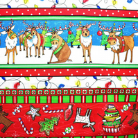 christmas border fabric, Reindeer Antics, Price per half Metre