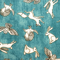 Rabbit fabric, fox fabric, bunny fabric, stag fabric, price per half metre