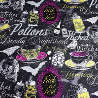 Potions fabric, witches fabric. skull fabric Price per half Metre