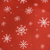Red Snowflake fabric, christmas fabric, quilting fabric, Price per half metre